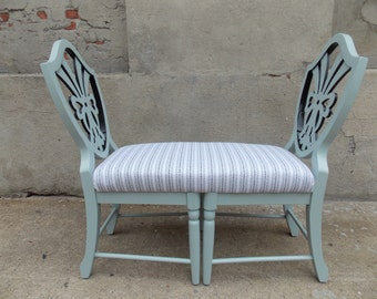 Custom ORDER ONLY - Upholstered Bench Made From Two Chairs