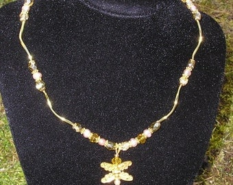Gold Dragonfly Pendant Necklace & Earrings with Pearls and Crystals Earrings Jewelry Set Excellent Bridesmaid Sets