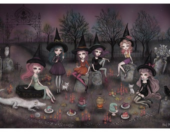 "Small Size - The Graveyard Girls - 9.5 x 13"" Limited Edition Giclée Print - Inspired by Witches, Dark Fairytales and Folklore"