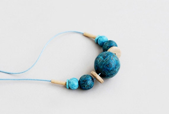 Blue Polymer Clay Necklace, Clay Necklace, Handmade Necklace