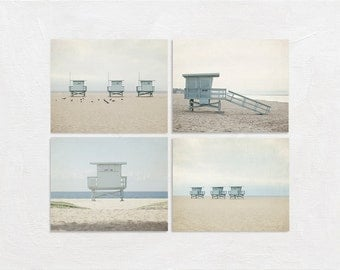 Beach Photography Set, Lifeguard Wall Decor Set, Modern Four Print Collection, Tan Grey Photograph Set, 4 Coastal Picture Set California Art