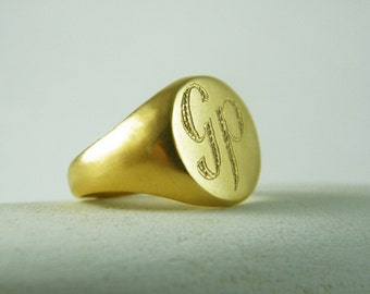 Men signet ring Monogram signet ring personalized ring gift for him