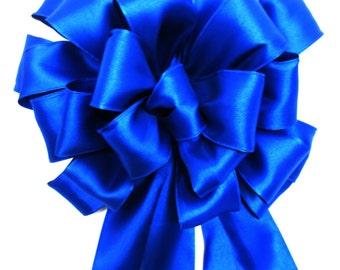 Christmas Bow, Tree Topper Bow, Wreath Bow, Blue Bow