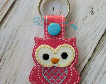 owl key chain, vinyl key chain, embroidered key chain