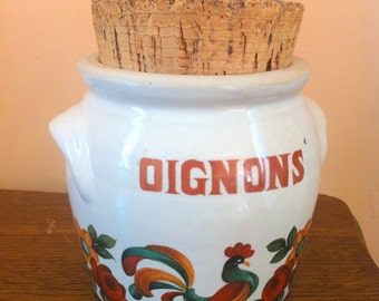 Onion jar. Authentic French earthenware onion jar with cork lid