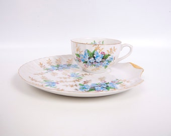 Vintage Metasco Snack Set Porcelain Teacup Set Snack Plate Japan Shell Shape Hand Painted