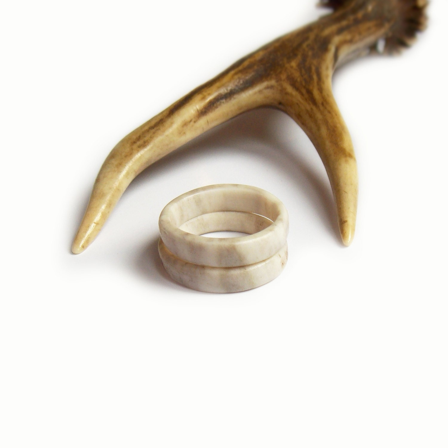 Double ring antler band deer antler rings double band ring