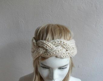 Chunky Headband, Knit Headband, Headwrap, Ear Warmer, Oatmeal Beige, Winter Accessories