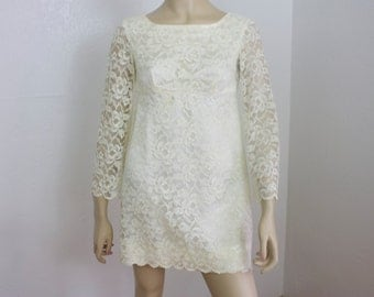 Vintage 1960s Mini Dress Ivory Lace and Satin Size XS