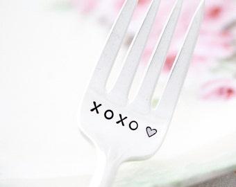 XOXO hand stamped dessert fork by milk & honey. Valentine's Day Gift Idea.