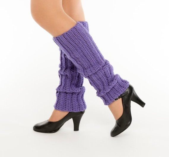 SALE--Lavender Crocheted Legwarmers, Handmade Ankle Warmers, Dance Wear, Dancer, Ballet, Knit Womens Warm Soft Accessory, 80's Style