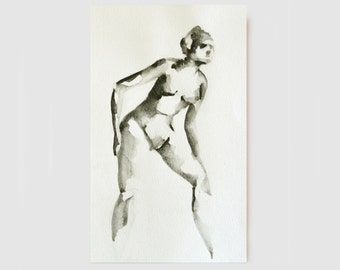 Original Fine Art Nude Drawing-Female nacked,woman nude,art,spirituality,movement,observ,original nude art on graphite