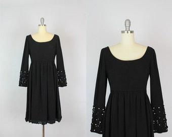 vintage 50s dress / 1950s black evening dress / rhinestone trim dress / empire waist dress / soutache dress / baroque sleeve dress