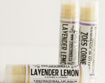 Lip Balm -Lavender Lemon -  100% Natural Lip Balm - Made with Local Beeswax and Local Sunflower oil