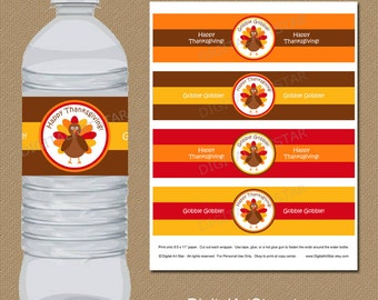 Thanksgiving Water Bottle Labels - DIY Printable Thanksgiving Water Bottle Wrappers - Turkey Drink Labels - INSTANT DOWNLOAD Labels T1