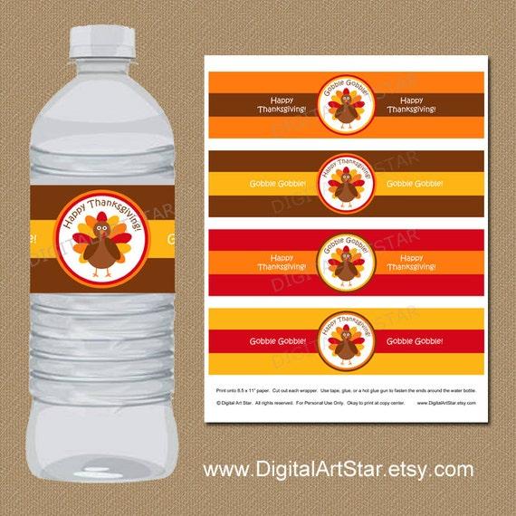 Diy Drinks Food Printables: Thanksgiving Water Bottle Labels DIY Printable Thanksgiving