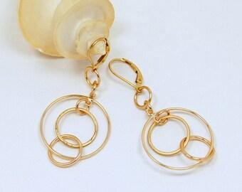 Gold Multi Circle Earrings  |  Bestseller Lightweight Earrings