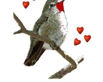 Custom Valentine Card for Bird lover~Hummingbird Valentine~Personalized Valentine~Bird Valentine~Handmade Valentine~Valentine for her