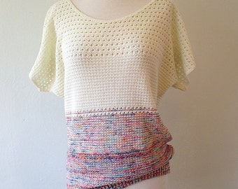 Vintage 70s 80s Crocheted Sweater Top