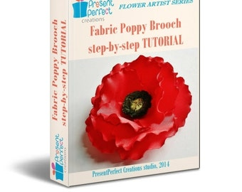 Fabric flower tutorial, poppy tutorial, flower pattern, silk flower tutorial, Remembrance poppy brooch, flower making tutorial pfd