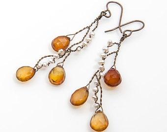 Yellow Chalcedony Gemstone Earrings, Honey Gold Chalcedony Dangle Earrings, Gold Bridal Earrings, Gold Twig Earrings, Gift For Her