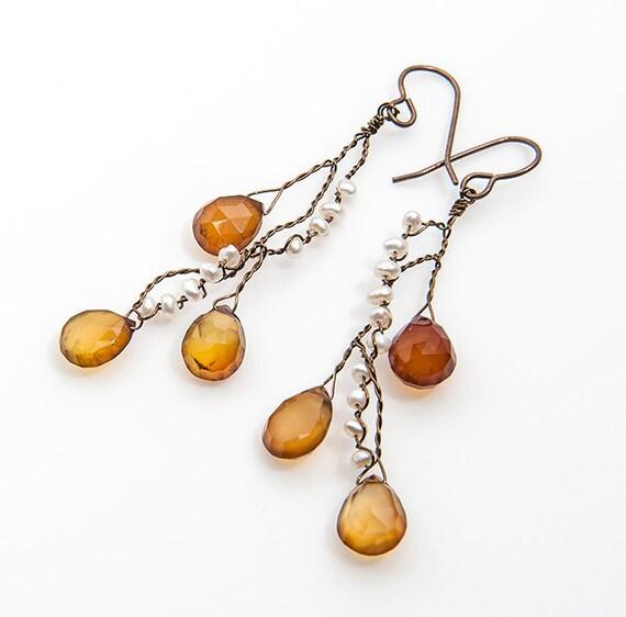 yellow chalcedony gemstone earrings honey gold chalcedony