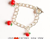 Lovely Apple charm Bracelet silver Retro vintage one kind charm snow white inspired fairy tale love factory made in NY
