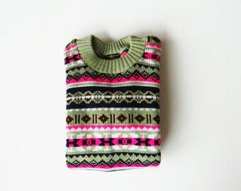 Neon Kids Vintage Fair Isle Sweater / Unisex Vintage Childrens Sweater / Bright Geometric Tribal Vintage Sweater