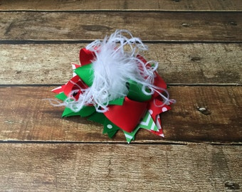 Red, Green, White, Over the Top Christmas Hair bow, Baby Christmas Headband, Over the top bow, Red, Green, Hair bows for Girls, Hairbow
