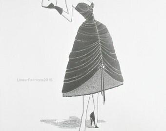 Original fashion illustration - Old Hollywood