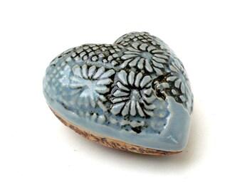 Heart  Pebble  , Blue Grey Lace Porcelain Heart  , Ceramic Sculpture , Romantic Gift