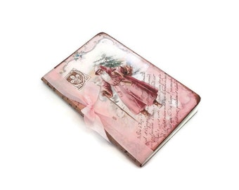 Shabby Pink Christmas Journal, Old World Santa Notebook, French, Cottage Chic, Vintage Style, Christmas in Paris, Letters to Santa Journal