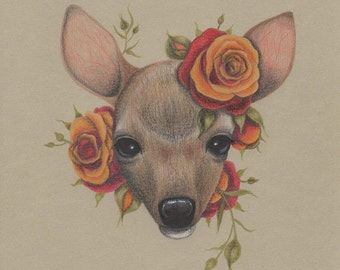 Woodland deer art, nursery illustration, burnt orange roses, fawn art, 5x7 art print, deer drawing, forest animal