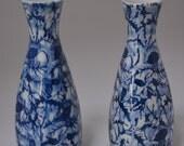 Pair of blue and white sake pitchers,  small Japanese tokkuri
