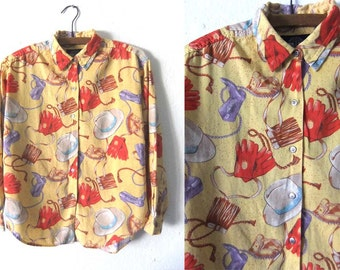 Cowboy Hats Novelty Print Button Up Shirt - Southwestern 90s Soft Yellow Cotton Long Sleeve Blouse - Womens Small