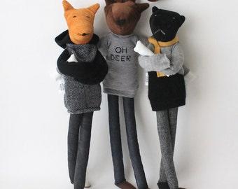 Custom animal cloth doll   personalized fox, panther, deer art dolls   cool animal man dolls   ooak male stuffed dolls   'Aniumans' edition