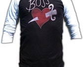 Boss Tattoo Shirt - 3/4 Sleeve Baseball Fashion T Shirt - Graphic tees for Men and Women