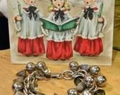 Retro Christmas Charm Bracelet- Chunky Stainless Bells & Ballls- 1940s Haskell Style