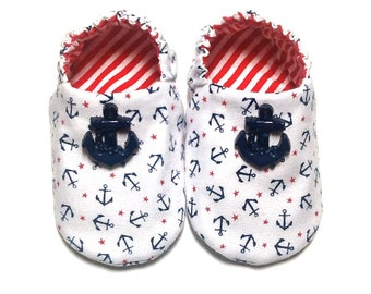 Nautical Baby Boy Shoes with Navy Blue Anchors, 0-6 mos. Baby Booties, Soft Sole Shoes, Boy Crib Shoes, Slip on Baby Shoes, Baby Boy Gift
