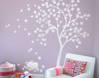"""White Tree Wall Decal Nursery Wall Decal Kids Room Wall Decor with Koala and white cherry blossoms Wall mural tattoo Large 85"""" x 76"""" - KC013"""