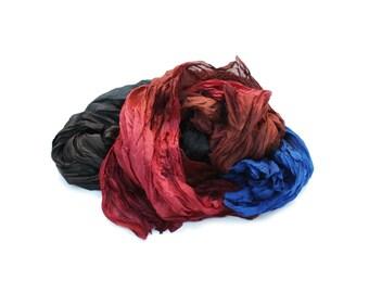 black silk scarf - Arizona -  blue, brown, terracota, black silk ruffled scarf.