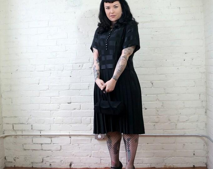 Drop Waist Black Stripe LBD 1950s Dress LARGE 50s does 20s Vintage Dress Pleated Skirt Little Black Dress Fashioned by Form Fit Dresses USA