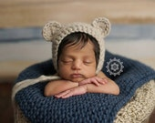 Newborn Chunky Wool Bear Bonnet