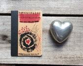 Traveler's Notebook red heart abstract notebook, small art journal, hand painted mini diary