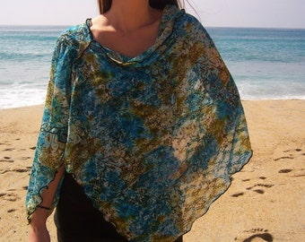 """French Designer Mesh """"Sweet Nothings"""" Cowl Neck Poncho Scarf"""