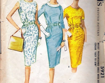 Vintage 1961 McCall's 5921 Proportioned Dress with Detachable Collar Sewing Pattern Size 14 Bust 34""