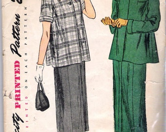 """Vintage 1949 Simplicity 2689 Maternity Suit Sewing Pattern Size 12 Bust 30"""""""