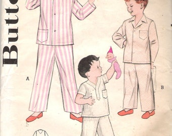 """Vintage 1953 Butterick 6429 Boy's Pajamas in Three Styles Sewing Pattern Size 6 Chest 24"""""""
