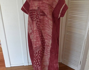 Vintage 70s Batik Dress In Cranberry Cotton with African Large Bird Ethnic Textile OOAK