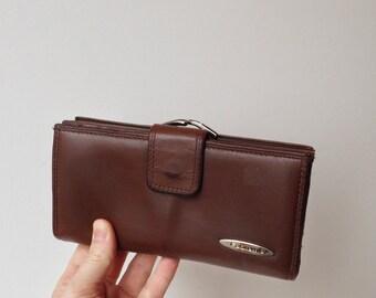 Vintage Dark Chocolate Brown Ladies Leather Wallet / Oversized Vintage Leather Wallet / Vintage Fabretti Wallet / Brown Leather Clutch